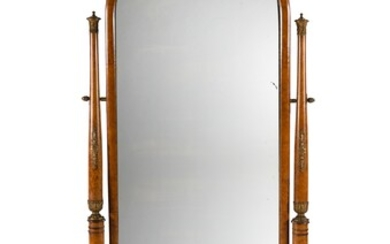 Early 19th C French Burr Elm Cheval Mirror. With Kingwood inlay. The arched