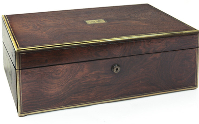 Early high quality brass inlaid rosewood lap desk