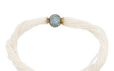 *FRESHWATER PEARL NECKLACE WITH TOPAZ AND GOLD CLASP