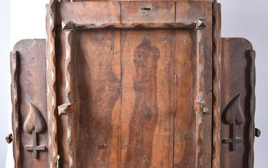 Folk Art Carved Wall Cabinet with Doors and Drawers