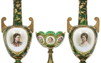 French Enamel Compote & Two Vases