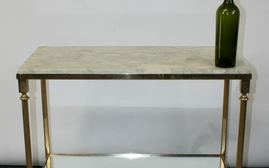 French mid century brass & marble console table