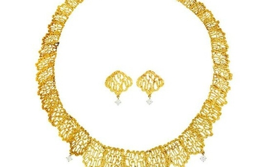 Gold and Diamond Pendant-Necklace and Pair of Earclips