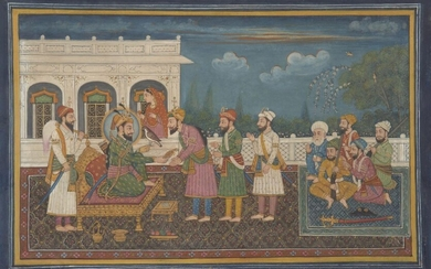 Guru Gobind Singh presents a Sikh Noble with a Sarpetch whilst an armed retenue watch on, Punjab, India, early 20th century, opaque pigments on paper, the detailed outdoors scene with a group of musicians to the right, all figures barefoot, 34 x...