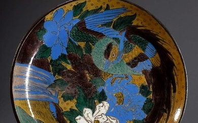 "Ko-Kutani plate ""Phoenix and Peonies at a Waterfall"", grey-brown body..."