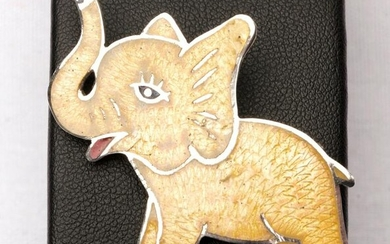 Mexican Sterling Silver Elephant Brooch