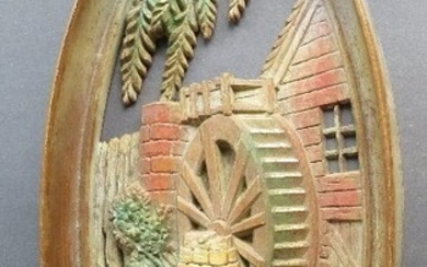 Old Water Mill, Oval Wall Plaque 1965 Wall Sculpture