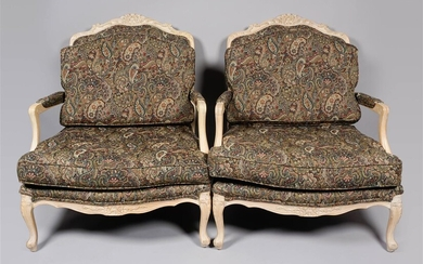PAIR OF LOUIS XV STYLE PICKLED BEECHWOOD FAUTEUILS