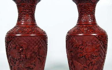 Pair Of Large Antique Chinese Carved Cinnabar Red Vases