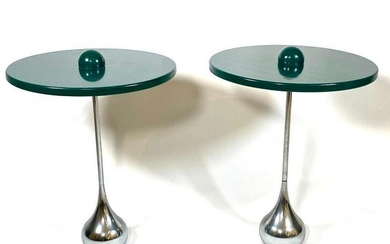Pair of Contemporary Wood and Chrome Occasional Tables