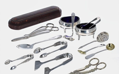 Selection of silver items including a pair of William Aitken...