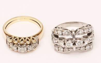 Set of rings, 585 white and yellow gold, diamonds (2).