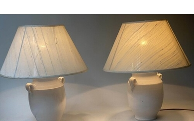 TABLE LAMPS, a pair, Provencal ceramic wine jar form with pa...