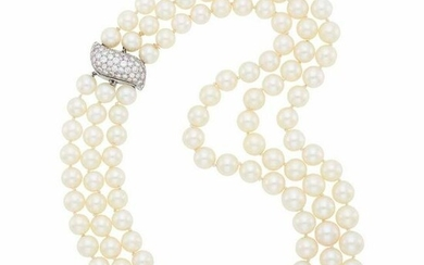 Triple Strand Cultured Pearl Necklace with Platinum and
