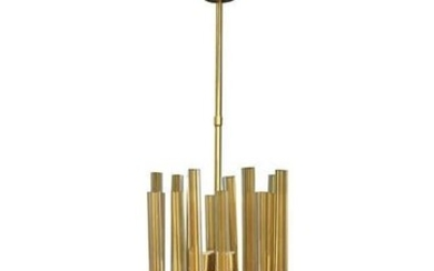 Venini Chandelier in Gilded Glass and Brass