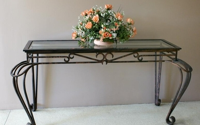 Vintage Iron Table with Glass Top