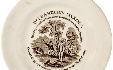 c. 1825 Dr. Franklin Maxims Staffordshire Plate