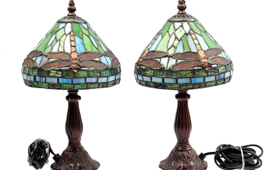 (-), 1 pair of table lamps with metal...