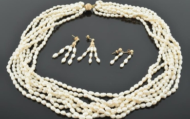14K yellow gold and rice pearl multi-strand necklace