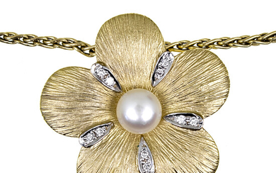 14k Yellow Gold Diamond and Pearl Necklace.