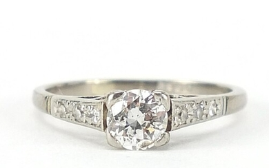 18ct white gold diamond solitaire ring with diamond shoulder...