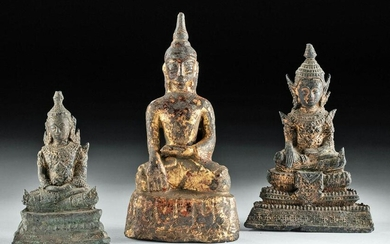 18th / 19th C. Southeast Asian Gilded Buddhas (3)