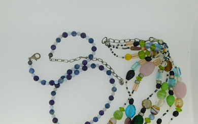 2 HARD STONE NECKLACES INC SING SODALITE BEAD NECKLACE.