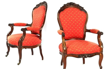 (-), 2 walnut Louis Quinze style armchairs with...