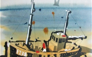 20th century school - Study of a beached fishing boat - E238...