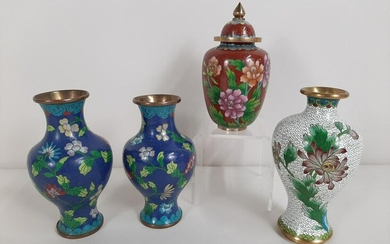 4 Cloisonne Vases and Ginger Jar