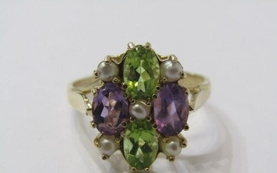 9ct YELLOW GOLD SUFFRAGETTE STYLE RING, amethyst, peridot an...
