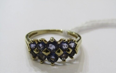 9ct YELLOW GOLD TANZANITE CLUSTER RING, 2 rows of graduated ...
