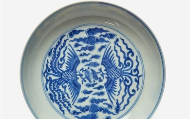 "A Chinese blue and white porcelain ""Double-Phoenix"" saucer dish..."