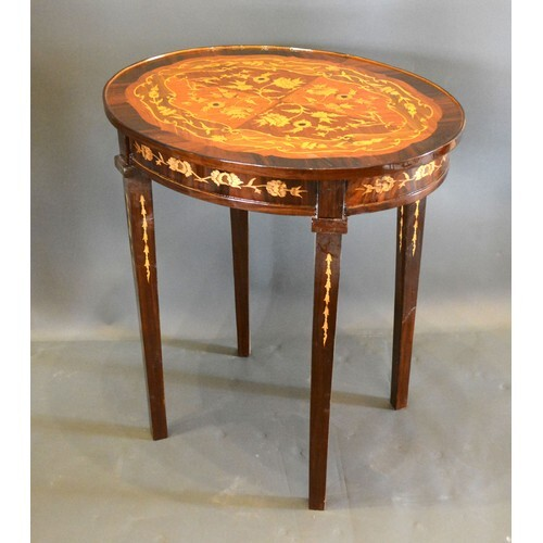 A French style marquetry inlaid oval occasional table, the m...