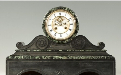 A LATE 19TH CENTURY FRENCH BLACK SLATE AND VERDE ANTICO MARB...