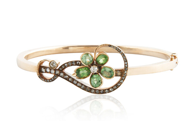 A LATE 19TH CENTURY RUSSIAN GOLD, CHRYSOLITE AND DIAMOND BRACELET, KYIV