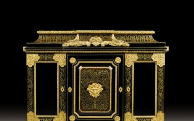 A Napoleon III style gilt-bronze mounted ebony, pear tree, rosewood, tortoiseshell, and brass-inlaid 'Boulle' marquetry bookcase cabinet, after a design by André-Charles Boulle, circa 1860