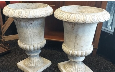 A Pair of Plaster and concrete garden urns [45cm in height]