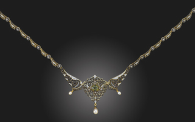 A Renaissance Revival gem-set and enamel gold necklace by Giuliano