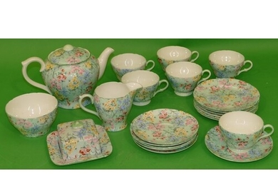 """A Shelley """"Melody"""" Pattern Tea Service on green ground with ..."""