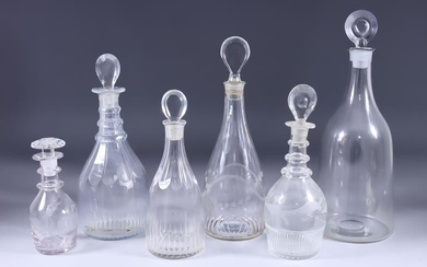 A Small Collection of English Glass Decanters, 18th/19th Century,...