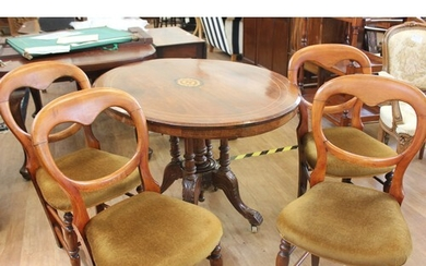 A Victorian inlaid walnut oval snap-top breakfast table, wit...
