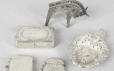 A collection of assorted items to include two silver vesta cases.
