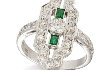 A diamond and emerald panel ring, the central brilliant-cut diamond collet between baguette-cut emerald single stones, within a brilliant-cut diamond elongated octagonal frame to baguette and brilliant-cut diamond line shoulders, signed Diafini...