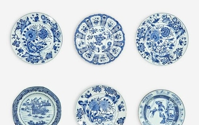 A group of six Chinese blue and white porcelain dishes