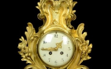 A large ormolu rococo wall cartel clock - NO RESERVE PRICE - Japy Freres & Cie, Paris, France - Gilt bronze - Late 19th century
