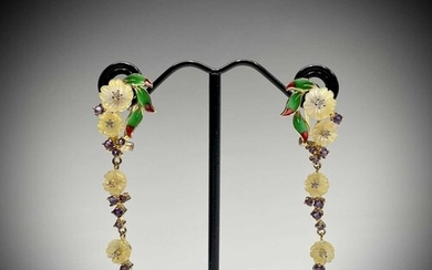 A pair of pendulous earrings with enamelled gold-plated silv...