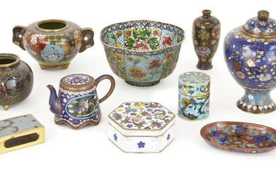A small collection of Japanese cloisonné, late Meiji period, to include a miniature teapot, two handle jar, miniature vase, cylindrical lidded jar, and a piqué-a-jour scalloped bowl, decorated variously with flora and butterflies, ten pieces...