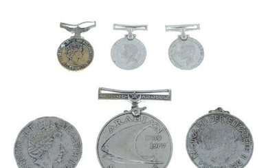 A small mixed selection of assorted medals and coins, to include Arabian Service medal, etc.
