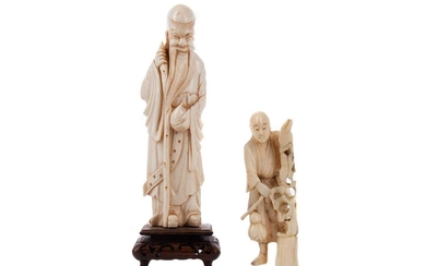AN EARLY 20TH CENTURY CHINESE IVORY CARVING OF SHOU LAO AND ANOTHER CARVING
